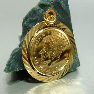 750 18 Kt Gold Münze In 585 14 Fassung John F Kennedy Anhänger