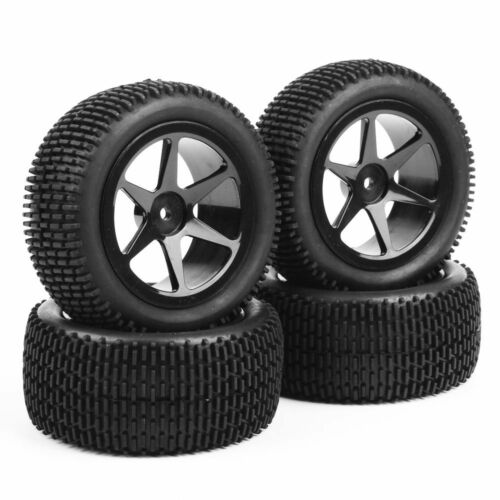 4Pcs 1//10th Scale RC Off-Road Buggy Car Front /& Rear Tyres Tire Wheel Set