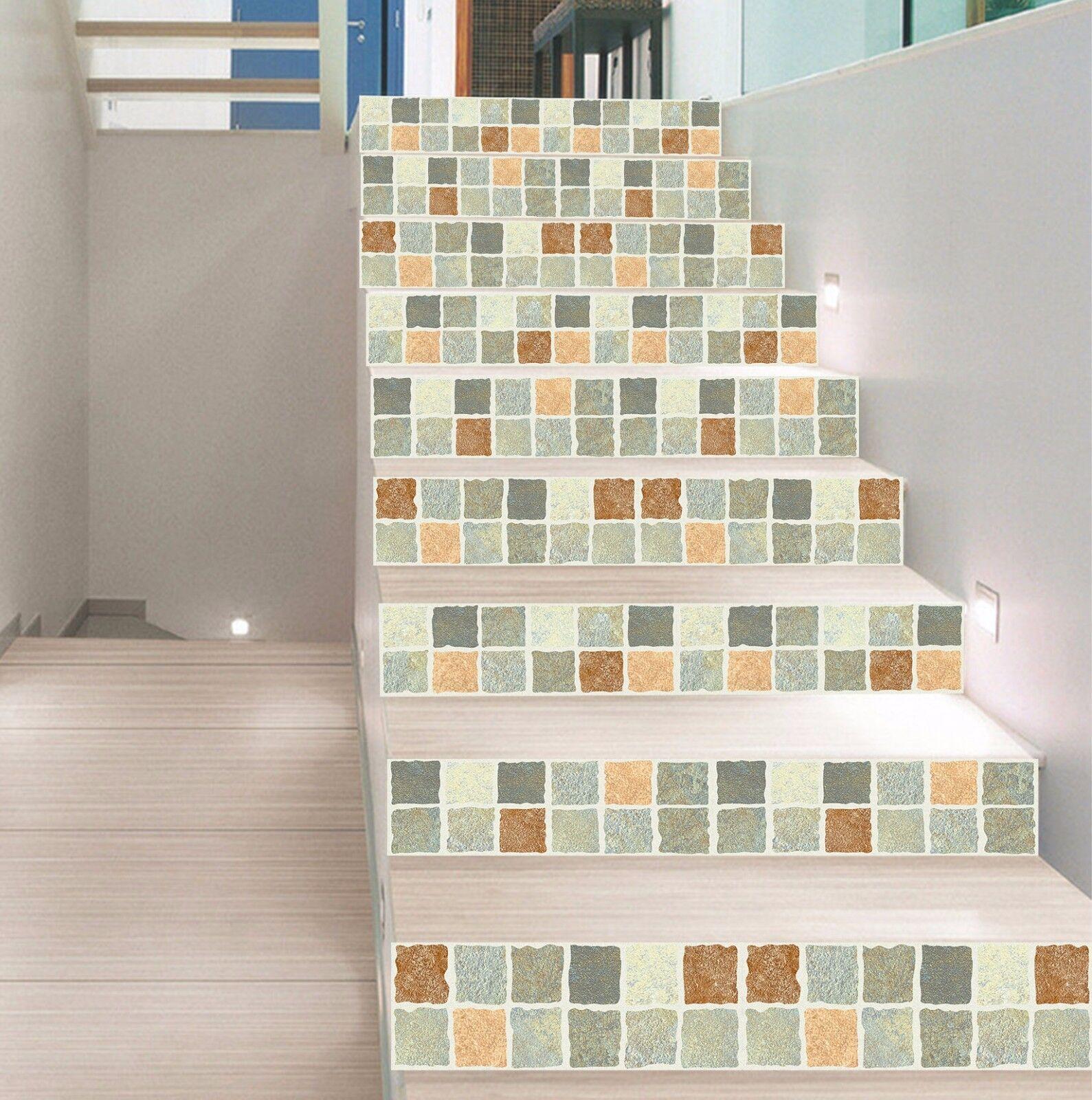 3D Gitter 432 Stair Risers Dekoration Fototapete Vinyl Aufkleber Tapete DE Lemon