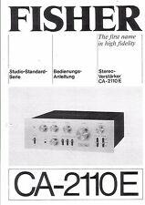Fisher  Bedienungsanleitung user manual owners manual  für CA- 2110E