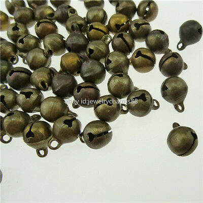13358 100PCS Copper Vintage Bronze Tone Mini Jingle Bell Pendant Charms