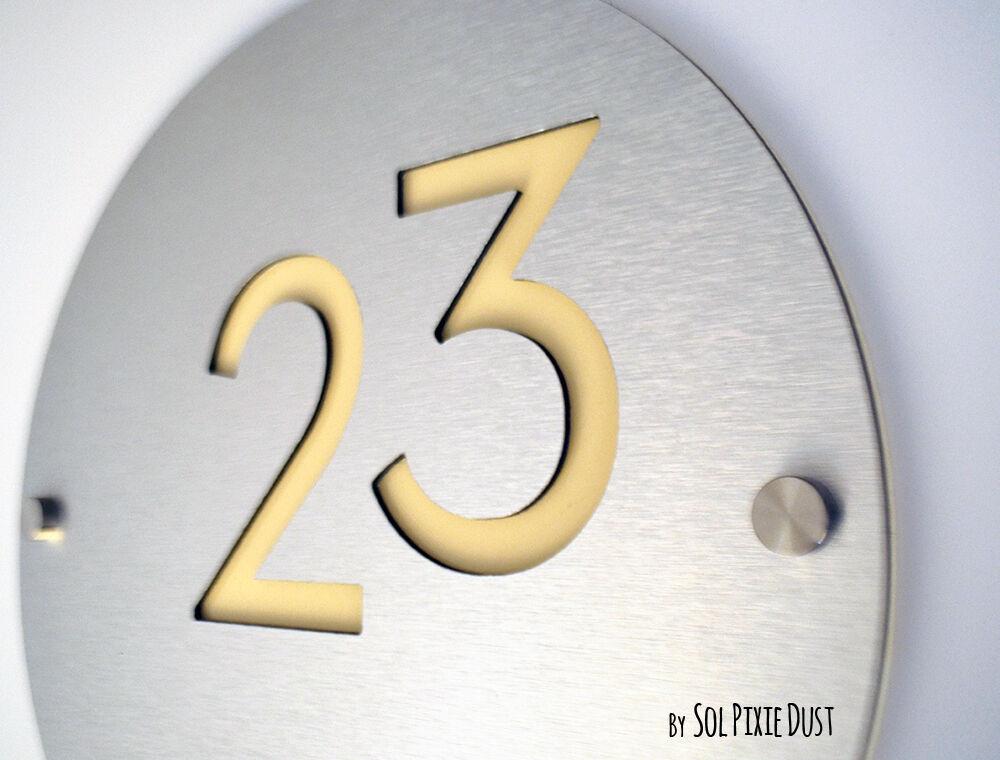 Modern House Numbers, Round Alucobond with Beige - Sign Plaque - Door Number