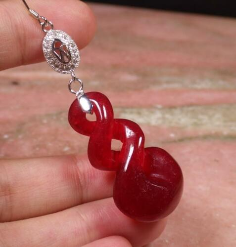 Red 925 Sterling Silver Jade Earring Circle Knotte Diamond Imitation 282112