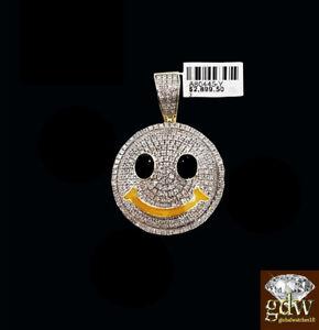 Autentico-10-Quilates-Oro-Amarillo-y-Diamante-Smiley-Emoji-Dije-Colgante