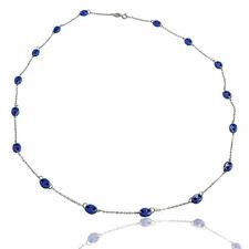 Collana girocollo cm 50 in oro bianco con maglia marinara in porcellana azzurra