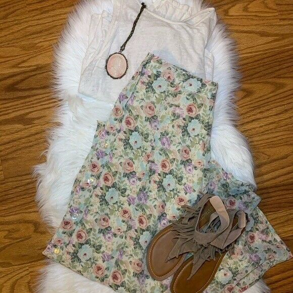 Casual Corner Floral Lined Flowy Maxi Skirt Women Size 8