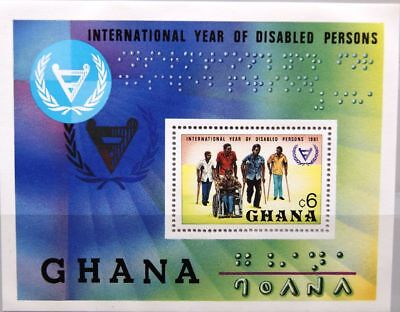 Afrika Year Of Disabled Jahr Der Behinderten Mnh Briefmarken Ghana 1982 Block 93 S/s 781 Intl