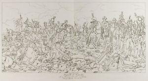Grabado Antigua 1876: Batalla Austerlitz/Napoleón Bonaparte. Militaria