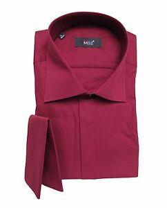 Herren-Hemd-mit-Einstecktuch-Gr-L-Bordeaux