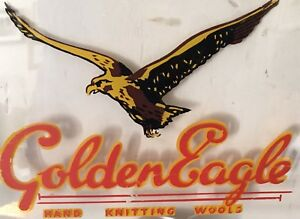 Authentic-Vintage-Advertising-Sign-Hand-Painted-Golden-Eagle-Knitting-Wools