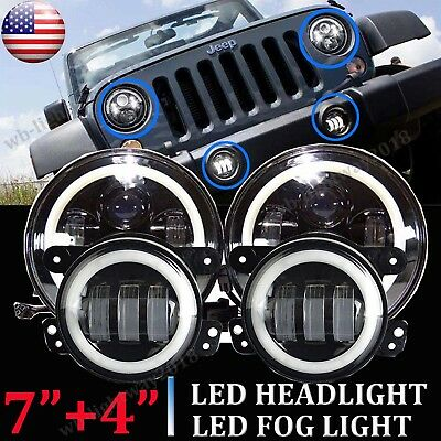 Led Halo Headlights Fog Light Drl Combo Kit For Jeep