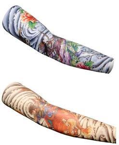 Tattoo-print-Lycra-Arm-Warmers-Cycling-Bike-Golf-Sport-UPF-50-unisex-S-M-L-XL