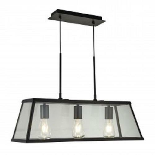 SEARCHLIGHT 4613-3BK Voyager Matt Black 3 Light Lantern Bar with Clear Glass