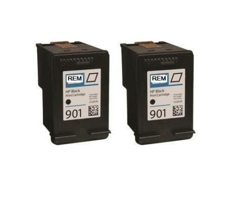 2x REM HP901 CC653AA black ink cartridges for HP officejet 4640,4680,4500,4580