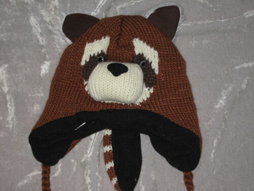 Children/'s Character Lined Knit Stocking Hat Ties Cap Pompom Fleece NEW!