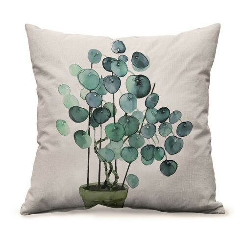 18/'/' Plant Printed Cushion Cover Green Leaves Linen Throw Pillow Case Home Decor