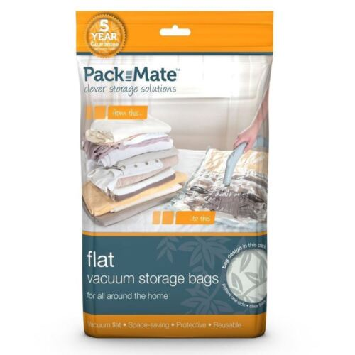 2 x Packmate Large Flat Vacuum Storage Bag Set Compressed Space Saver 55 x 80cm