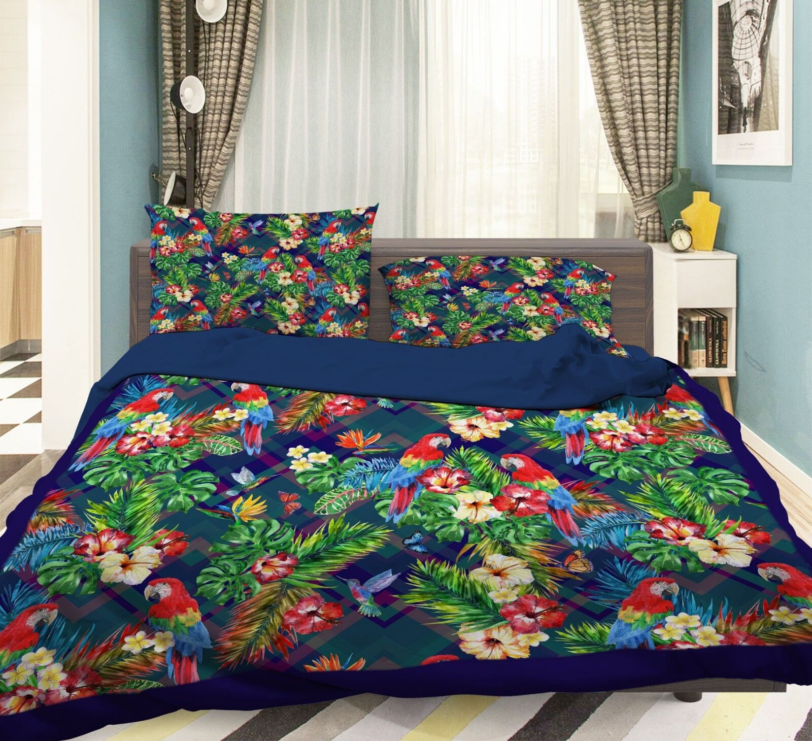 3D Parrot Leaves 687 Bed Pillowcases Quilt Duvet Cover Set Single King UK Summer