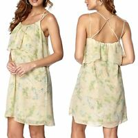 Ladies Size 6 - 26 Plus Pale Yellow Floral Strappy Summer Sun Dress