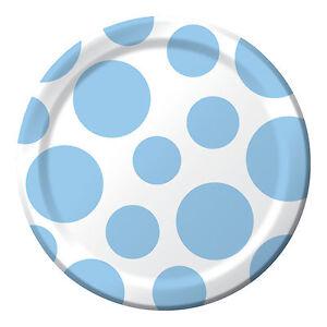 Image is loading 8-Pastel-Blue-White-Spots-Polka-Dots-Birthday-  sc 1 st  eBay & 8 Pastel Blue White Spots Polka Dots Birthday Party Small 7