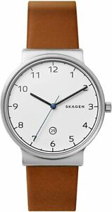 Skagen-Ancher-Men-039-s-Cognac-Leather-40mm-Watch-SKW6433-New-Without-Tags