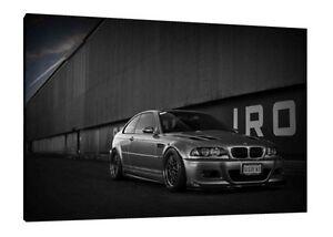 BMW E46 M3 CSL - 30x20 pouces toile-Encadrée PHOTO PRINT Wall Art Poster  </span>
