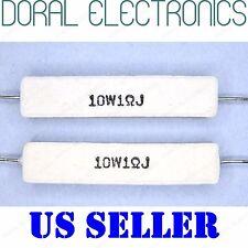 2x 10W 1 Ohm 1R 5% Ceramic Cement Power Resistor NEW 1Ohm 10 W 10WATT WATT