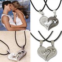"""I Love You"" Men Women Couple Lover Necklace Heart Shape Pendant Stainless Steel"