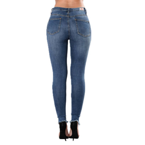 Womens Floral Ripped Denim Jeans Casual Skinny Stretch Jeggings Pants Trousers