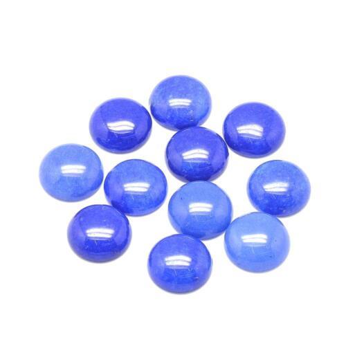 2 Jade blau Cabochons 12mm rund flach Schmuckstein #416