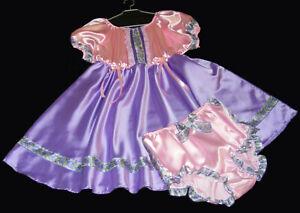 2tlg. Adult Baby Dress Sissy Maid adult baby Satin XXL