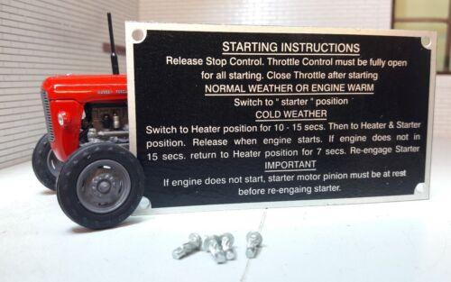 Massey Ferguson MF35 35 Tractor Starting Instructions Plate /& Rivets 1959-1963