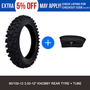 80-100-12-3-00-12-034-Inch-Rear-Knobby-Tyre-Tire-Tube-PIT-PRO-Trail-Dirt-Bike