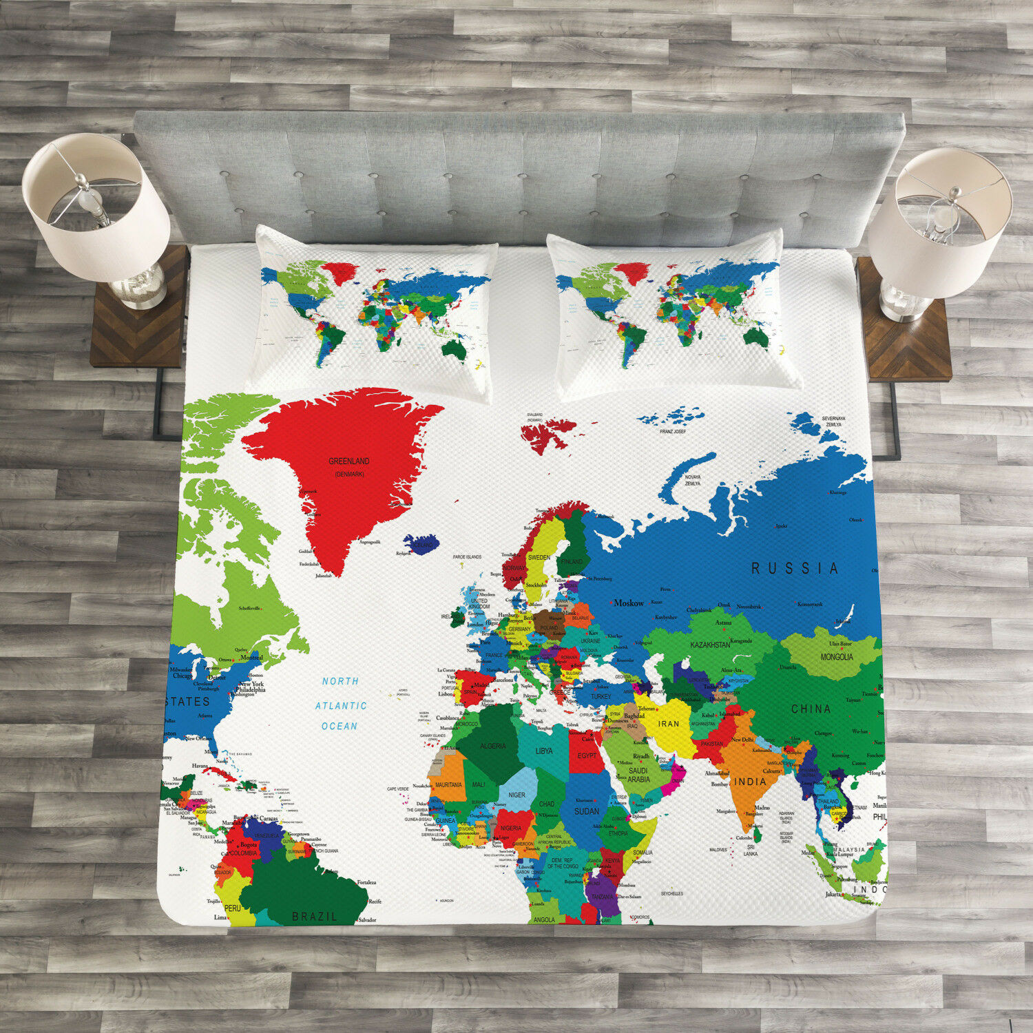 World Map Quilted Bedspread & Pillow Shams Set, colorful Political Print