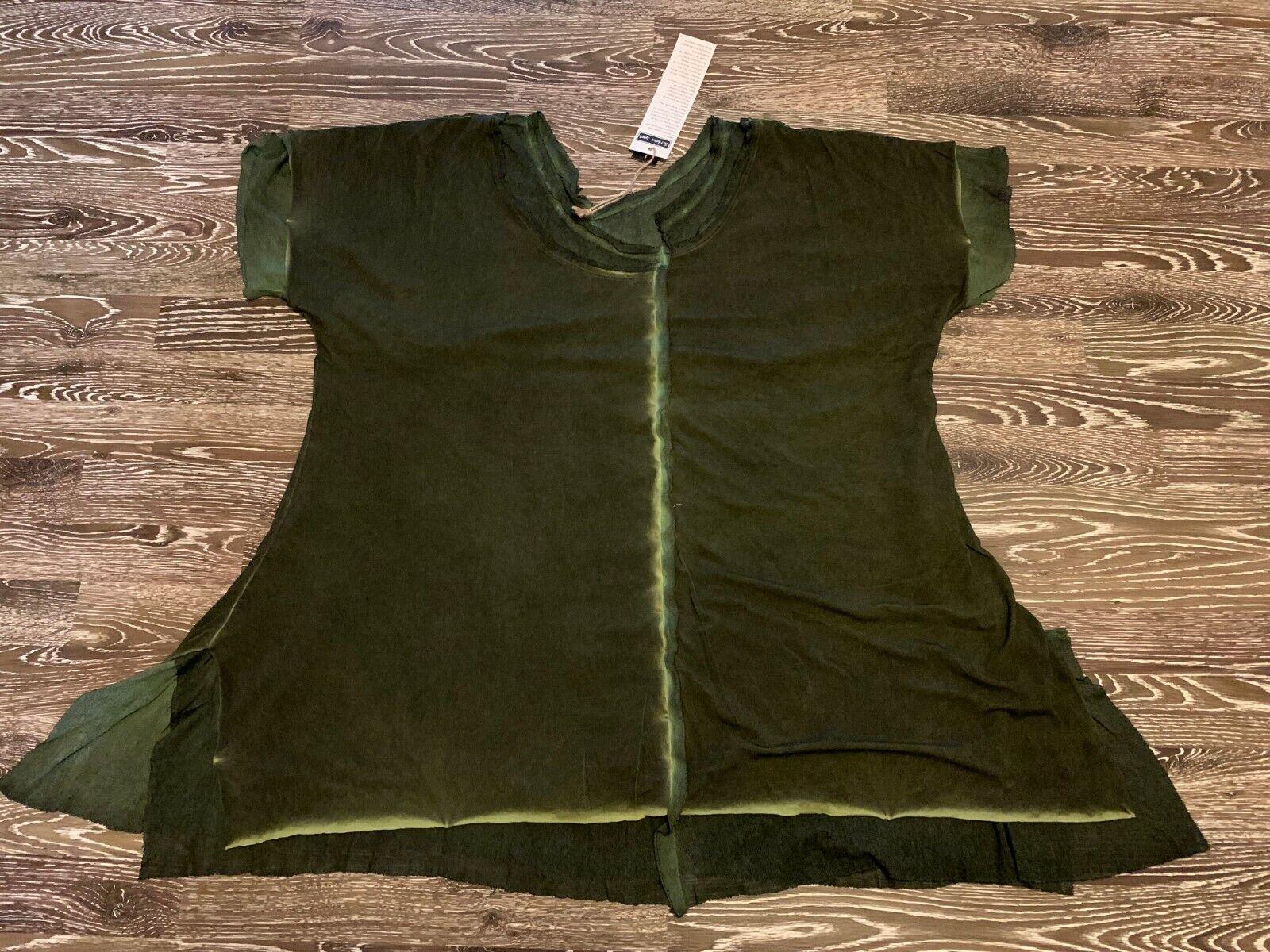 Barbara Speer Lagenlook T-Shirt mit Tülleinsätzen in grün old look NEU