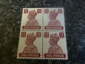 INDIA-GVI-POSTAGE-STAMPS-SG276-12A-LAKE-BLOCK-OF-4-1941-UN-MOUNTED-MINT