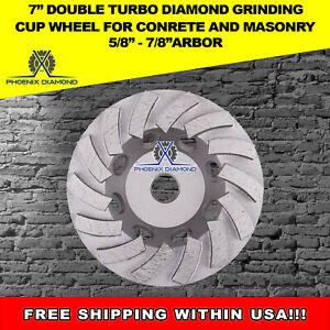 "7//8-5//8 Arbor 2Pack 5"" Double Row Concrete Diamond Grinding Abrasive Cup Wheel"