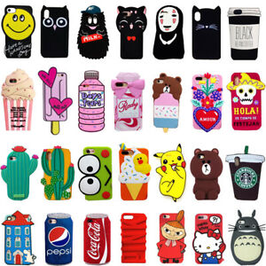 2017-3D-Cartoon-Soft-Silicone-Phone-Case-Rubber-Cover-For-iPhone-X-5-6-7-8-Plus