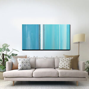 48x24-Abstract-Art-Painting-Turquoise-Blue-Aqua-Beach-Coastal-US-Artist