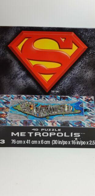 NEW  4D Cityscape DC Comics Superman  Metropolis 3D Jigsaw Puzzle + Poster Guide
