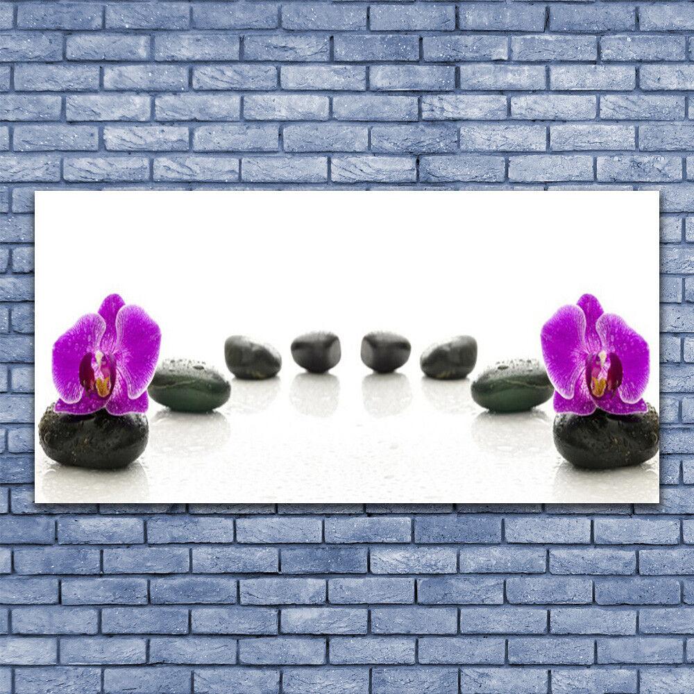 Wandbilder Glasbilder Druck auf Glas 140x70 Blaumen Steine Kunst
