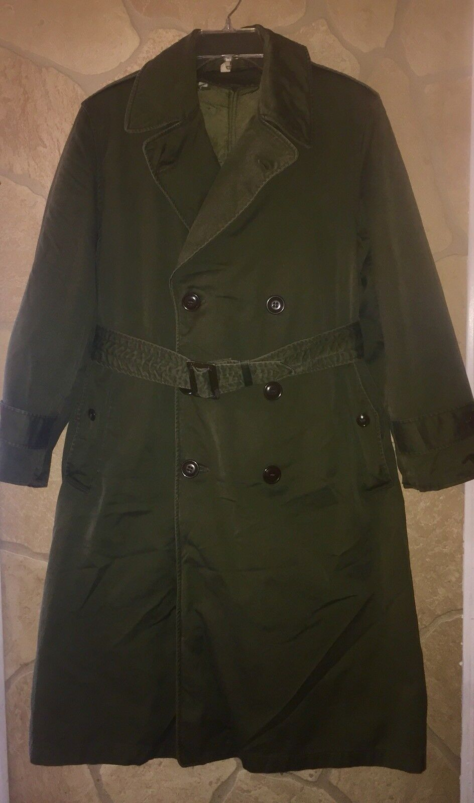 US Navy Green Wool Lined Trench Coat, Size Small