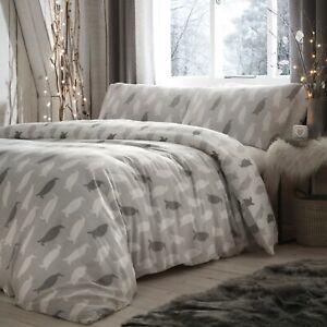 Fusion-PENGUIN-Christmas-Bedding-Xmas-Duvet-Cover-Set-Brushed-Cotton-Winter-Grey
