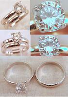18kt White Gp Wedding Cz Engagement Rings Band Set