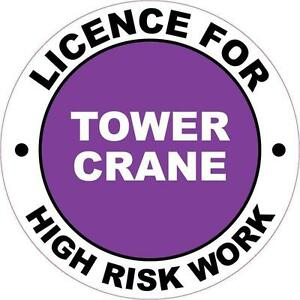Hard Hat High Risk Licenced Tower Crane Sticker 50mm WHS OHS