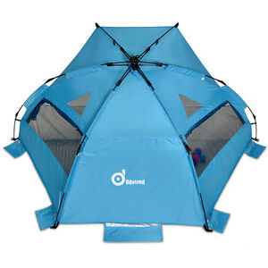 Image is loading 3-4-Person-pop-up-beach-tent-sun-  sc 1 st  eBay & 3-4 Person pop up beach tent sun shelter Steel Stake Outdoor ...