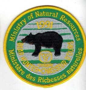 1991-ONTARIO-MNR-BEAR-HUNTING-PATCH-badge-flash-crest-deer-moose-elk-Canadian