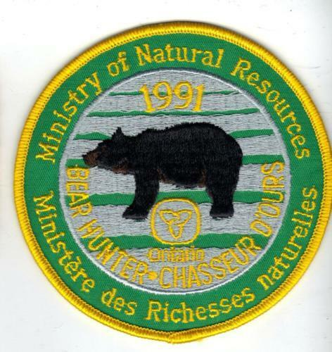 1991 ONTARIO MNR BEAR HUNTING PATCH badge,flash,crest,deer,moose,elk,Canadian