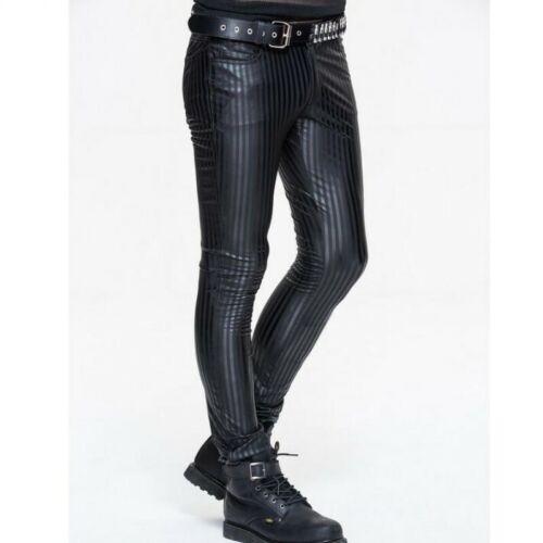Men/'s Black Leather Punk Long Pants Slim Stripe Cotton Blend Skinny Trousers