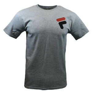FILA-Mens-T-Shirt-S-M-L-XL-2XL-Logo-Graphic-Sports-Apparel-Athletic-Tee-GRAY-NEW